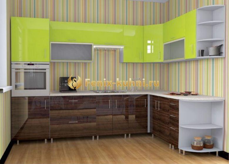 Кухня двух цветов белый и коричневый